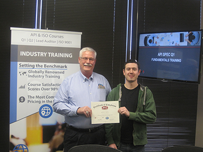 API Spec. Q1 Training Picture - Randy Heydenburg (QSI Instructor) and Ben Leightner (Manuli Hydraulics)