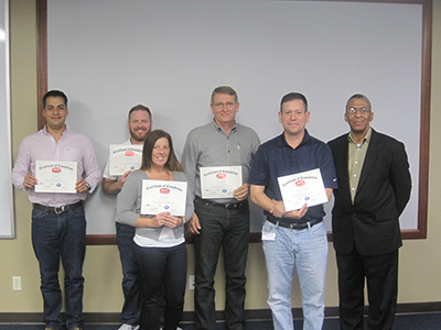 API Spec. Q1 Training Picture - API Spec. Q1 Training - Isaias Mejia (Doxsteel, LLC), David Barbour (Trendsetter Engineering, Inc.), Tonya Zepeda (Sumitomo Corporation of Americas), Jeff Wright, Gerardo De La Garza (GE Oil & Gas), Joe Wiltz (QSI Instructor)