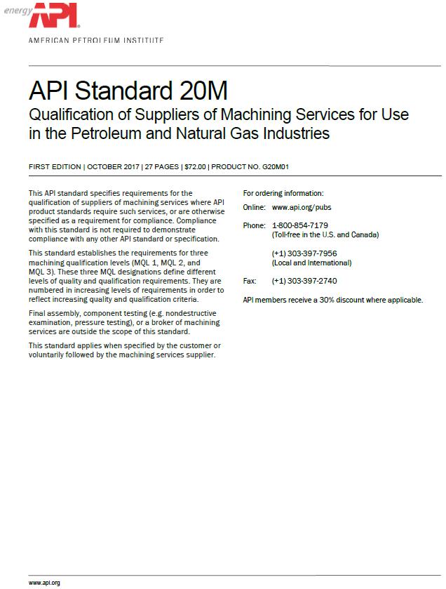 API 20M Publication