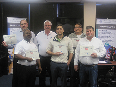 API Spec. Q1 Training Picture - Jim Scarnecchia (Oilfield Services and Technologies), David Elliot (American Petroleum Institute), Randy Heydenburg (QSI Instructor), Adrian Payne (Oilfield Services and Technologies), Dusan Tapaha (Fort Peck Tech Services), Randy Wood (Weatherford)