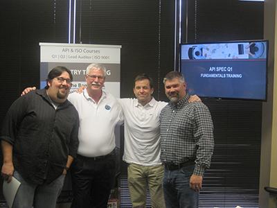 API Spec. Q1 Training Picture - Jack Charvat (Omni Valve), Randy Heydenburg (QSI Instructor), Tim Edgmon (Omni Valve), Dusty Nail (Omni Valve)
