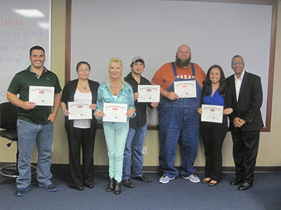 API Spec. Q1 Training Picture - Chris Florida (ENSCO International, Inc.), Monica Toerner (Rig Master), Diann Wilck (Integrated Drive Systems), Julian Hernandez (Alloy Carbide), Chris Gilbreath (Applied Machinery Corp.), Jackie DeFreitas (American Petroleum Institute)