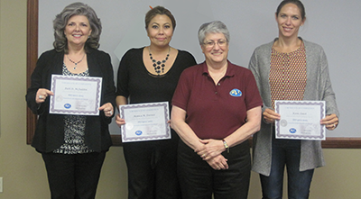 ISO 9001: 2015 Training Picture - Ruth McFadden (Cactus Wellhead), Monica Toerner (Rig Master), Mary Chimarusti (QSI Instructor), Kami Faust (TCO Products)