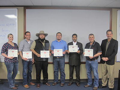 API Lead Auditor Training Picture - Danielle Mills (NOV), Stuart Yates (AMCOL International), Rey Moreno (AMCOL International), Dustin Oberholz (Texas Pipe Works), Abdul Rahiman (Arabian Rockbits & Drilling Tools Co), Perry Beaudoin (Halliburton), Bud Weightman (QSI President and Master Trainer)