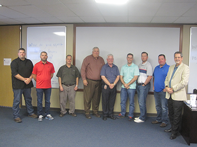 API Lead Auditor Training Picture - Dustin Rangnow (CCC Group), Bradley Kellter (CCC Group), Gil Hunter (NOV), Brett Puckett (Shell), Matthew Johnson (Baker Hughes), Morgan Gallagher (Shell), Brent Shaw (Halliburton), Bud Weightman (Master Trainer)